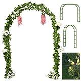 Tytroy Reconfigurable & Easy-to-Assemble Metal Outdoor & Indoor 7'6' Garden or Wedding Arch Arbor for Wedding Bridal Party Elegant Decorations & Garden Climbing Plants Vines (Green 1PC)
