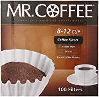Mr. Coffee Basket Coffee Filters, 8-12 Cup, White Paper, 8-inch, 100-Count Boxes by Mr. Coffee