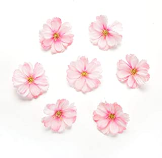 Artificial Flower 50pcs mini silk plum blossom wedding decoration DIY wreath clip clip accessories handmade craft flower head (pink)