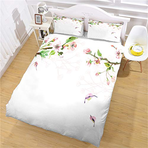 LCJYXNP Duvet Cover Sets Double Size 200X200cm Red Peach Bird Pattern 3 Pcs Bedding Set With Zipper Closure & 2 Pillow Covers 50X75cm Ultra Soft Hypoallergenic Microfiber Quilt Cover Sets