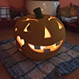 Halloween All Natural Hand-crafted Unique Ceramic Tealight Candle Holder Pumpkin Lantern - 4.5 inch Handmade and Hand Painted Terracotta Jack O'Lantern For Indoor and Outdoor Fall Decoration