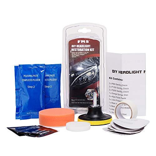 FMS koplamp-behandelingsset DIY polijst- en onderhoudsset Headlight Polish inclusief UV-bescherming en boormachine opzetstuk