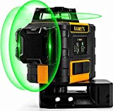 Nivel láser verde 3 x 360, nivel automático láser profesional Kaiweets, carga USB, autonivelación y modo de pulso exterior (con 2 baterías recargables, soporte magnético y bolsa de transporte)
