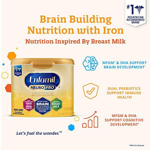 Enfamil NeuroPro Baby Formula Milk Powder, 20.7 oz reusable tub (Pack of 6) & Ready to Use Liquid, 8 fl oz (24 Bottles) Dual Prebiotic, DHA for Brain Support