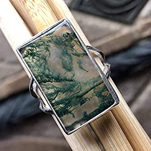 Natural Green Moss Agate 925 Solid Sterling Silver Ring