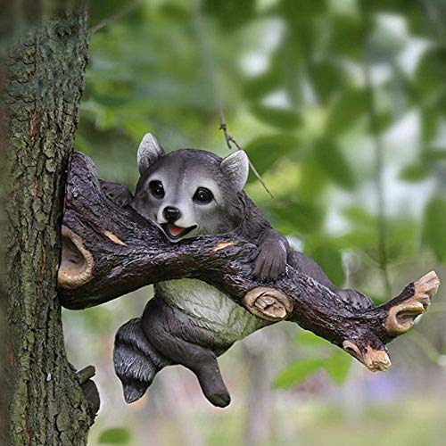 Delightful Raccoon On Tree Branch Hugger Outdoor Garden Statue Animal Fairy Ornament Outdoor Fence For home, outdoor decoration