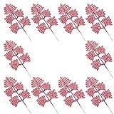 Tomaibaby 10Pcs Hojas de Brillo Navideño Artificial Boston Fern Bush Decoración de Hojas Tropicales para Bodas Arreglos Florales Navideños Coronas de Vacaciones Decoraciones de Árboles Al