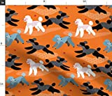 Spoonflower Stoff – Poodles Park Orange Fun Play Dogs Ball