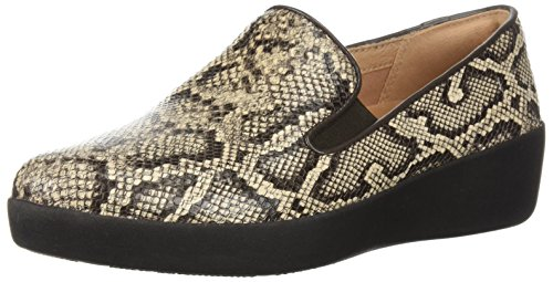 FitFlop Women's Superskate Sneaker, Taupe Snake, 10 M US