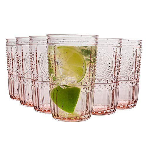 Bormioli Rocco Romantique Highball Verres Set - Cocktail Vintage Verre Cut Italien Gobelets - 475ml - Rose - Paquet de 12