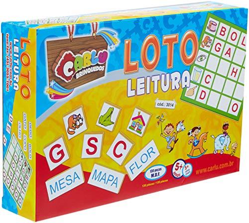 Carlu Brinquedos - Loto Leitura Jogo de Tabuleiro, 5+ Anos, 130 Peças, Multicolorido, 3014