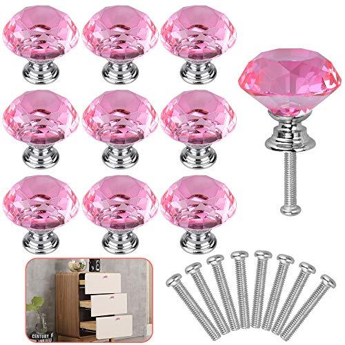 RMENOOR 10-pack kristall dörrknoppar 30 mm diamant låda knoppar skåp draghandtag med skruvar, byrå med handtag för hem kök garderob skåp dekoration (rosa)