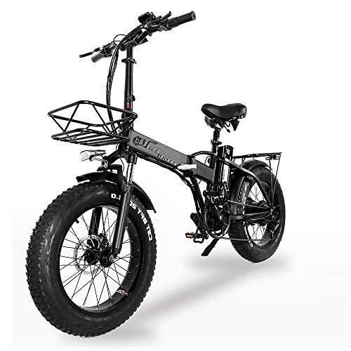 """XXCY Pieghevole Bici elettrica 500 w e-Bike 20\""""* 4.0 Pneumatico Grasso 48v 15ah Batteria Display LCD con 5 Livelli di velocità di PAS (Nero)"""