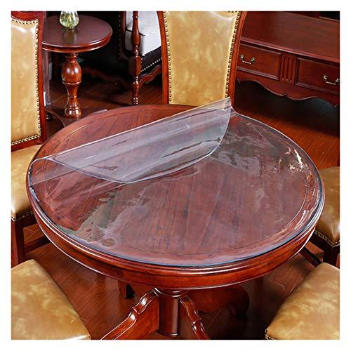 LINMAN Tabla Redonda de Vidrio Suave Mesa Redonda Hotel PVC Impermeable Anti-Scald Free Libre de Aceite Mesa Desechable Mesa Ronda Mantel (Color : Transparent Pattern, tamaño : 70cm Round)