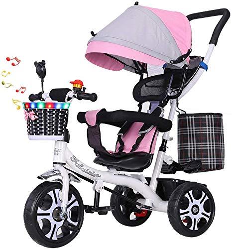 WLD kinderen 'S trainingsvoertuig kinder' S driewieler kinderwagen multifunctionele draaistoel baby bike 1-3-6 jaar oud driewieler kinderwagen met muziek roze