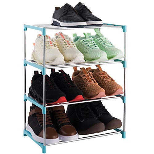 Xerhnan 4-Tier Stackable Small Shoe Rack Lightweight Shoe Shelf Storage Organizer for Entryway Hallway and Closet blue