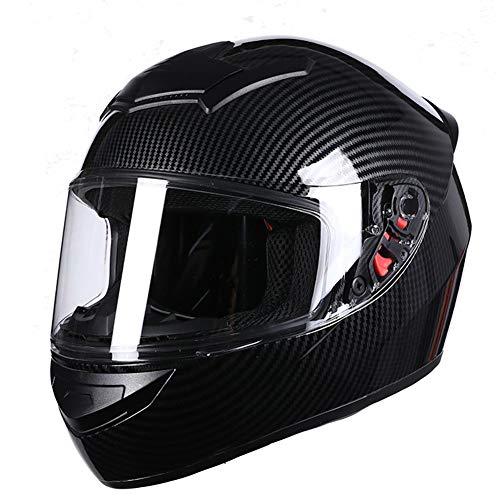 Dajie Casco de motocicleta de cara completa, compacto, antivaho, cálido, para motocross, todoterreno, para todoterreno, unisex, aprobado por DOT, fibra de carbono, XXXL