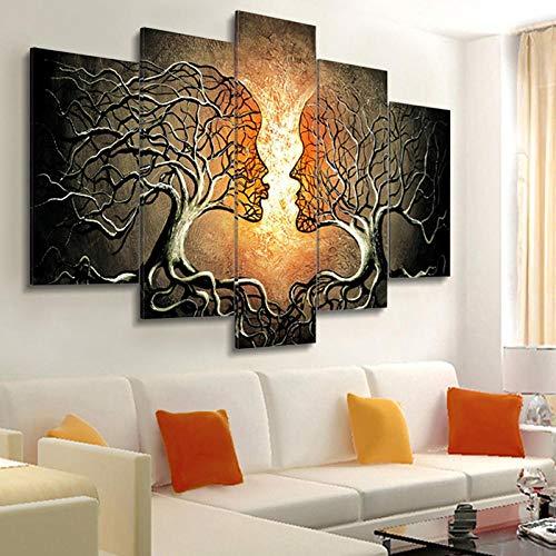 Yatena artoss Mural de lienzo sin marco 5 Pintura moderna en lienzo 5 piezas Flores combinadas Carteles Resumen planta humanoide árboles pareja Impresiones en lienzo Cuadros de pared para sala de