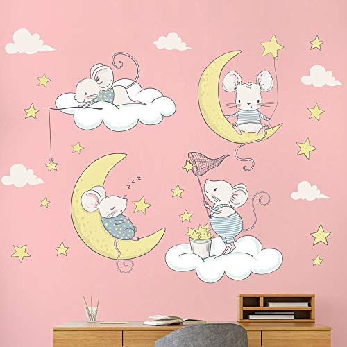 Cartoon Mouse Clouds Wall Sticker With Moon And Stars Cute Wallpaper For Kid Bedroom Kindergarten Home Decor Removable Wall Sticker