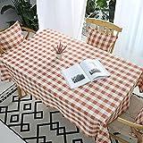 VIVILINEN Mantel Rectangular, Mantel de Lino de algodón, diseño de cuadrícula de Costura Cuadrada, manteles rectangulares, manteles Lavables para Mesa de Comedor de Cocina (Rojo, 140x180cm)