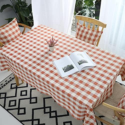 VIVILINEN Mantel Rectangular, Mantel de Lino de algodón, diseño de cuadrícula de Costura Cuadrada, manteles rectangulares, manteles Lavables para Mesa de Comedor de Cocina (Rojo, 140x240cm)