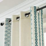 SEEKRIGHT Bohemian Chic Linen Curtains Teal Blue- Boho Embroidered Sheer Curtains for Kitchen 84 Inch Length with Cotton Thread Natural Floral Embroidered Flax Drapes for Living Room, Set 2 Panels