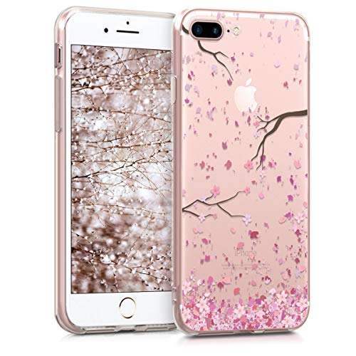 kwmobile Funda Compatible con Apple iPhone 7 Plus / 8 Plus - Carcasa de TPU y Flores Cerezo cayendo en Rosa Claro/marrón Oscuro/Transparente