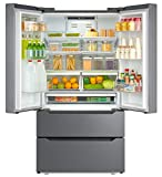 Verona VERF36CDSS 22.49 cu. ft. 36 Inch Freestanding Counter Depth 4 Door French Door Refrigerator with Automatic Ice maker Stainless Steel