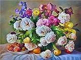 FHGFB 5D-DIY-Diamante Mosaico Flores Fruta Flor Bordado Diamante Bordado Diamante Pintura Conjunto Rhinestone Arte Sin marco-40x50cm