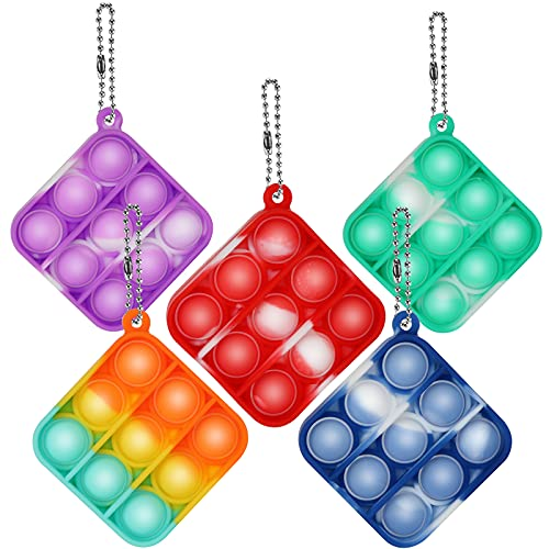 5 Pcs Mini Tie-dye Push Pop Fidget Keychain Toy Simple Sensory Fidget Toy, Squeeze Sensory Hand Keychain Toy ,Silicone Stress Reliever Toy for Kids,Family,Students,and Friends (Min-Square 5pack)