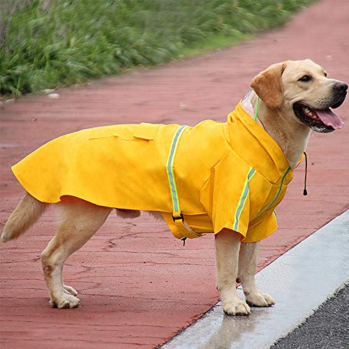 okdeals Dog Raincoat Leisure Waterproof,Dog Poncho with Hood Transparent Brim,Adjustable Dog Reflective Raincoat for Large Dogs Yellow