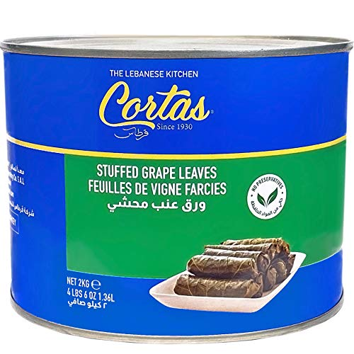 Cortas - Stuffed Grape Leaves, 4.4 Lb (2 kg) - 75 pieces | Premium, Large (70 oz)