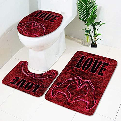 IRCATH Día de San Valentín Amor Smiley Patrón Impresión Digital Absorción de Agua Antideslizante Multifunción Multifunción Cojín de baño Juego de Tres Piezas-C3 Suave cálido Hermoso Antideslizante de
