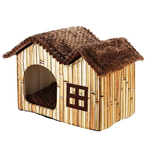 DoubleBlack Cuccia Casetta per Gatti Interno Cani Cuscino Casa Pieghevole Cucce Animali Morbida Casette Piccolo Nicchie Modello Bambù