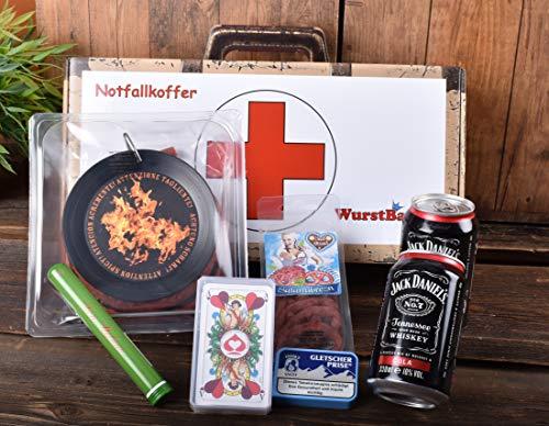 WURSTBARON® - Männer-Notfall Koffer - Geschenk Koffer mit Wurst-Kabeltrommel, Whiskey-Cola, Zigarre, Kartenspiel und mehr