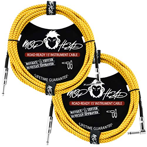 Mophead 15 Foot Double Insulated and Road Ready Braided 1/4 in TS to 1/4 in TS Guitar and Bass Instrument Cable Bundle 2 Pack Right Angle Yellow & Brown