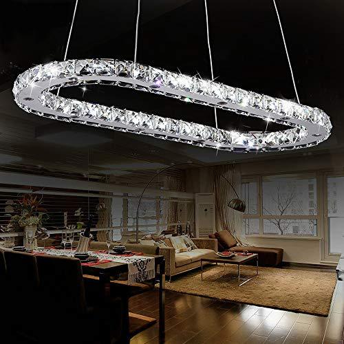Hängeleuchte Kristall Rund Kristallleuchter Pendelleuchte LED Dimmbar Höhenverstellbar Hängelampe Esszimmer Küche Kronleuchter Modern Deckenlampe Wohnzimmer Fernbedienung Esstisch Lampen,1ringl86cm