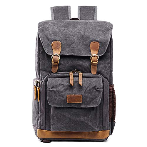 CapsA Waterproof Camera Backpack Vintage Backpack Photography Canvas Bag (Gray)