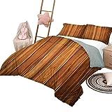Juego de edredón, colcha rústica ligera para dormitorio, para todas las estaciones, con tablones de madera verticales, imagen de la vida de la cabaña en el campo, tamaño king, caramelo pálido y naranj