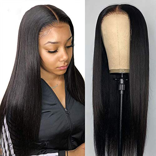 16Inch T Part Lace Front Wigs Human Hair Brazilian 4x1 Straight Lace Closure Human Hair Wigs for Black Women Pre Plucked with Baby Hair Natural Black(16inch)