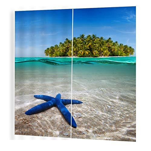 Greatangle Blue Star Sea Pattern Divider Tende Nice Window Curtain 150 * 166 Tende romantiche per Soggiorno