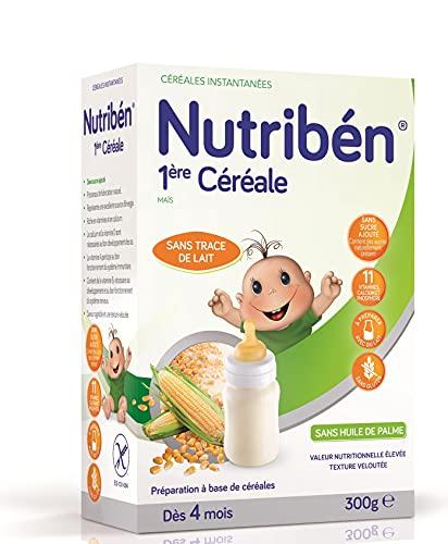 Nutribén Bouillie Bébé Instantanée 1Ère Céréale Élaborée sans Lait dès 4 Mois sans Gluten 300 g, 1 Unité