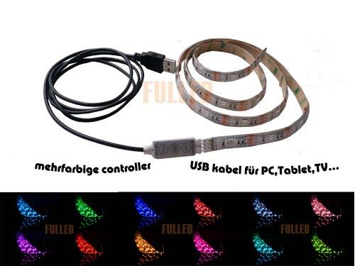 SUNTEC 50cm LED RGB Strip Mehrfarbig wasserdicht+ MINI Controller + USB 2.0 Kabel RU50