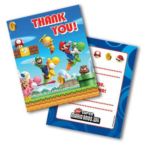 Mario fête d'anniversaire vous remercient 1 pack de 6