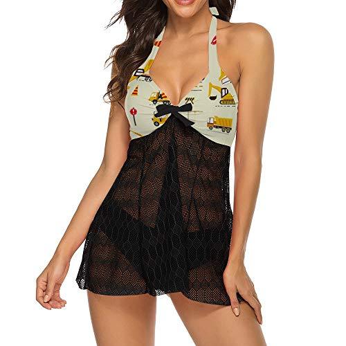 Huabuqi Niedliche Baumaschinen Perfekt für Kinder Frauen Halfter Bikini Bademode High Neck Zweiteilige Bikini Badeanzüge XL