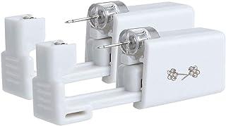 Anzero 2 Pcs Self Ear Piercing Gun | Disposable Ear Nail Gun Kit | Safety Portable Household Piercing Gun with 6mm Flower Ear Studs (New Generation)