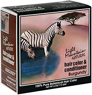 Light Mountain Natural Hair Color & Conditioner, Burgundy, 4 oz (113 g) (Pack of 3)