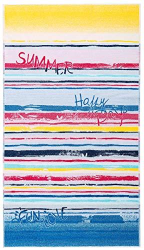 Lashuma Strand Liegehandtuch Summertime, Modernes Velours Badehandtuch 100 x 180 cm, Streifen Strandtuch Gelb - Blau - Rot