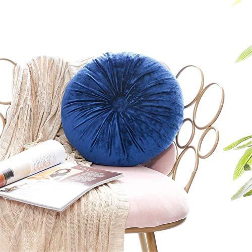 Mirui Asiento Redonda cojín Redondo de Terciopelo Calabaza del Amortiguador de Asiento for sillas de Cubierta Mat Sofá Sofá Home Decor Azul Pavo Real (Color : Royal)