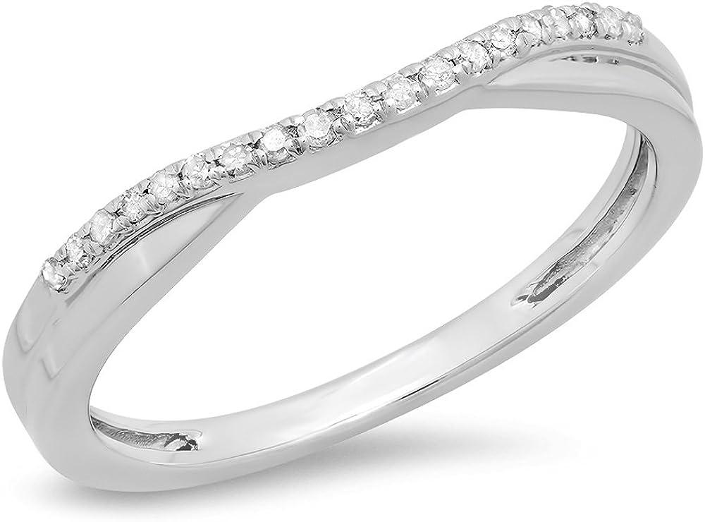 Tusakha 0.25Ct Round Cut 14K White Gold Plated Swarovski White Dia Enhancer Guard Band Ring For Women's